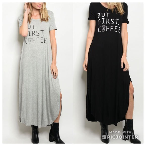 Liamya Dresses But First Coffee Gray Or Black Knit Maxi Dress